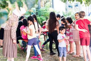 Spielplatzfest an der Sophienschule - Kinderschminken des Familienzentrum Mütterclub Hof