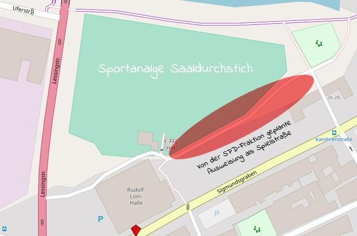 Karte Spielstraße Sportanalage Saaldurchstich