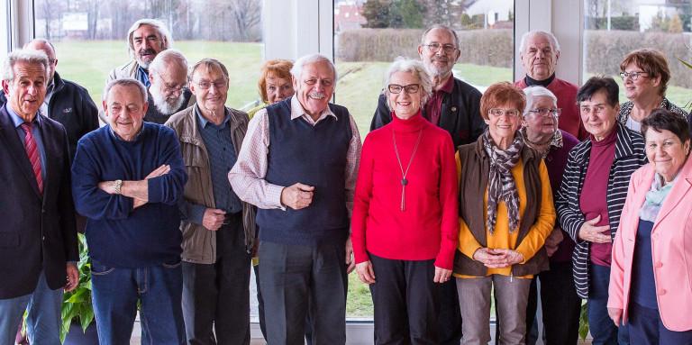 Arbeitsgemeinschaft 60plus Hof Gruppenbild Jahreshauptversammlung 2019 im Postsportheim Hof