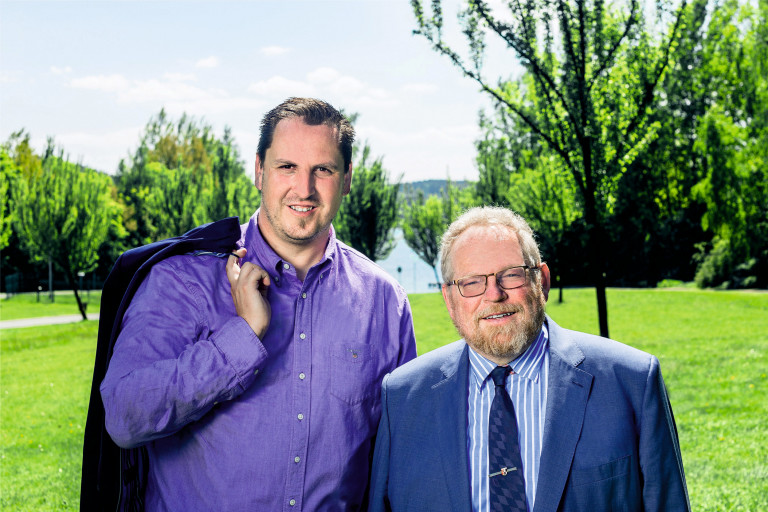 Klaus Adelt und Christian Zuber am Untreusee Wahlkampffoto zur Landtagswahl und Bezirkstagswahl 2018