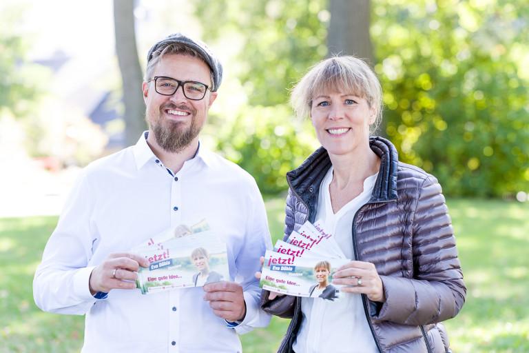 Oberbürgermeisterkandidatin Eva Döhla und Patrick Leitl
